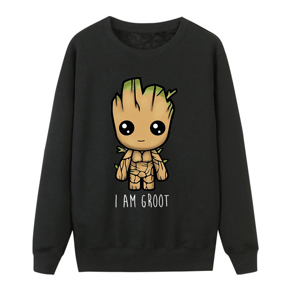 Women New Brand Hoodies Pullover Kawaii Cartoon I Am Groot Print Sweatshirts Female Winter Fleece Outwear Thick Warm Clothing