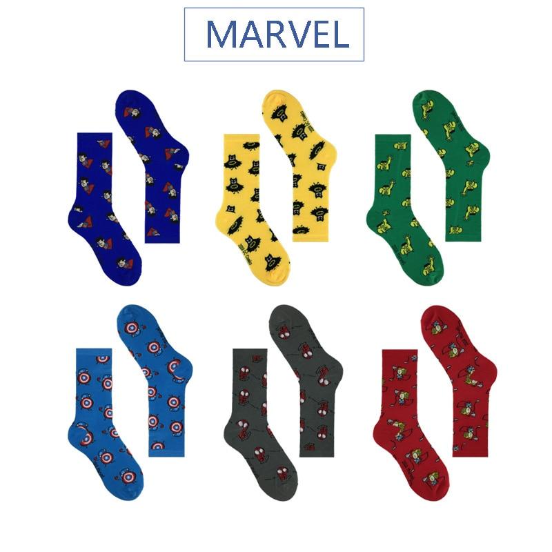 Calcetines de héroe de cómic Marvel General Hombre de Hierro de dibujos animados Capitán América calcetines cálidos altos Patrón de costura antideslizantes Casual