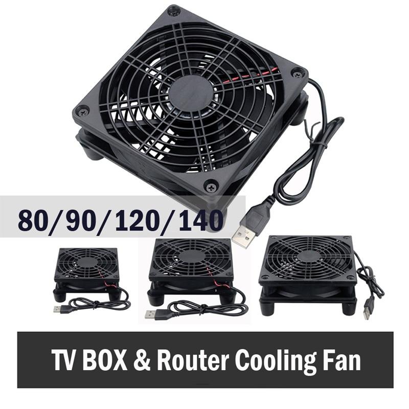 Gdstime 5V USB Router Fan TV Box Cooler 80mm 92mm 120mm 140mm PC DIY Cooler W/Screws Protective net Silent Desktop Fan 1