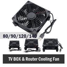 Gdstime 5V USB Router Fan TV Box Cooler 80mm 92mm 120mm 140mm PC DIY Cooler W/Screws Protective net Silent Desktop Fan