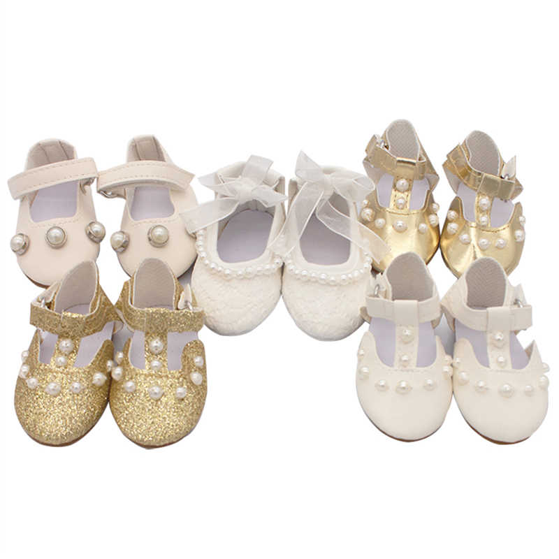 Doll Talk 2019 Newest Arrival Imitation Pearls Doll Shoes 7.5cm Personality Lace Shoes For 18 Inch Doll Accessories Child's Gift