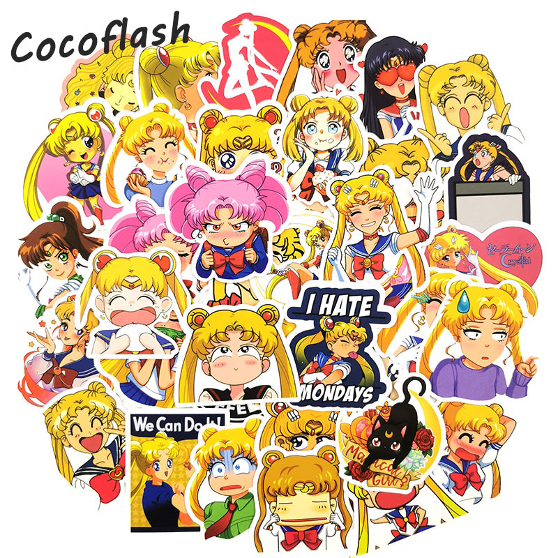50PCS Anime Sailor Moon Stickers Cute Cartoon Trolley Suitcase Luggage Decals Graffiti Guitar Scooter Laptop Sticker Diy Gifts