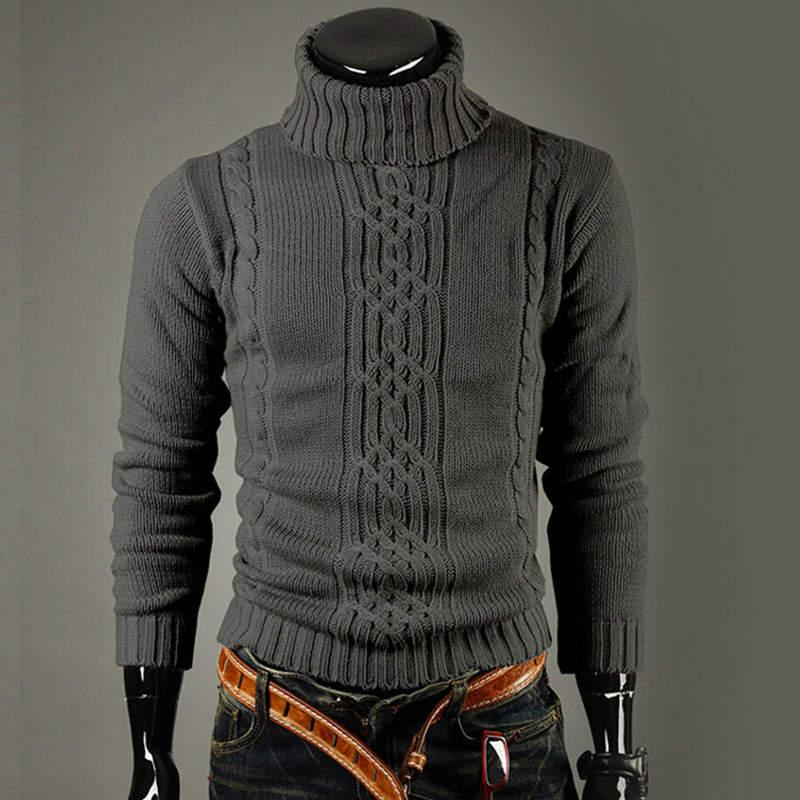 New Fashion Brand Slim Men's Knit Lapel Long Sleeve Turtleneck Turtleneck Solid Color Regular Sweater For Men Winter High Neck