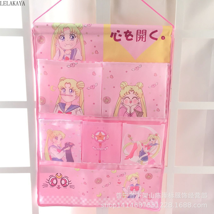 Cartoon Sailor Moon My Melody Oxford Cloth Girl Make Up Cosmetic Storage Bags Fashion Wall Hanging Bag Beauty Case Organizer New