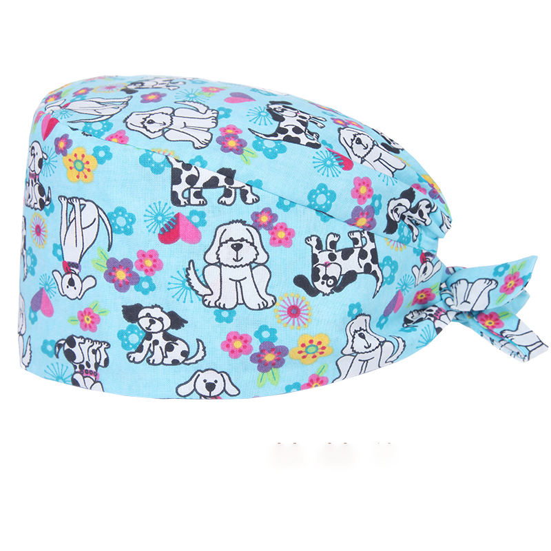 Dalmatian Gog Veterinary Surgical Caps Pet Medical Hat Hospital Nurse Work Caps 100% Cotton Sweatband Doctor Work Hat