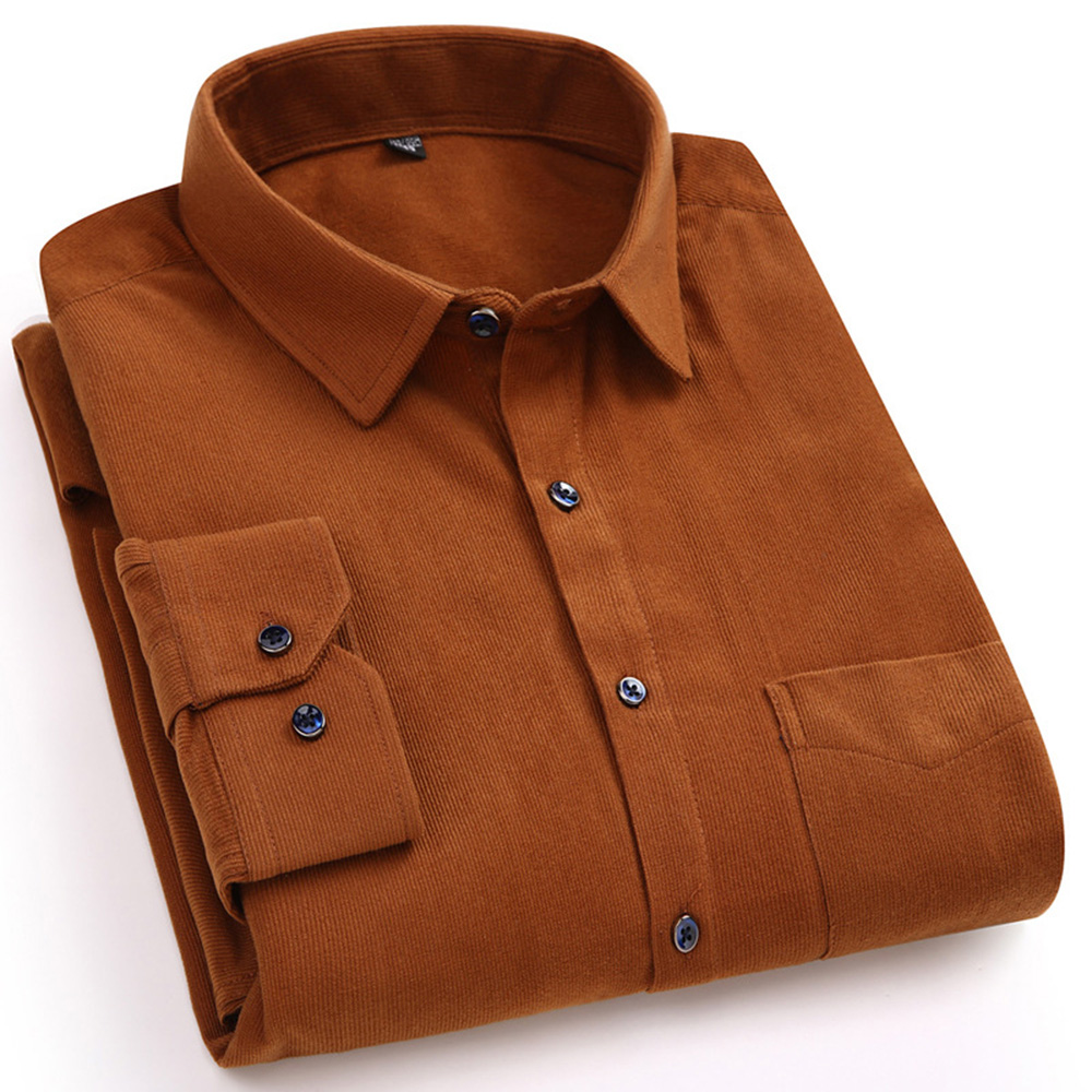 Casual Mens Corduroy Shirt Pure Cotton Long Sleeve Brown Thick Dress Shirts Winter XXL Regular Fit New Model Male Button