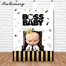 InMemory Golden Black Stripes Kid Birthday Party Backdrop Custom Photo Background Boss Baby Photography Photocall First birthday
