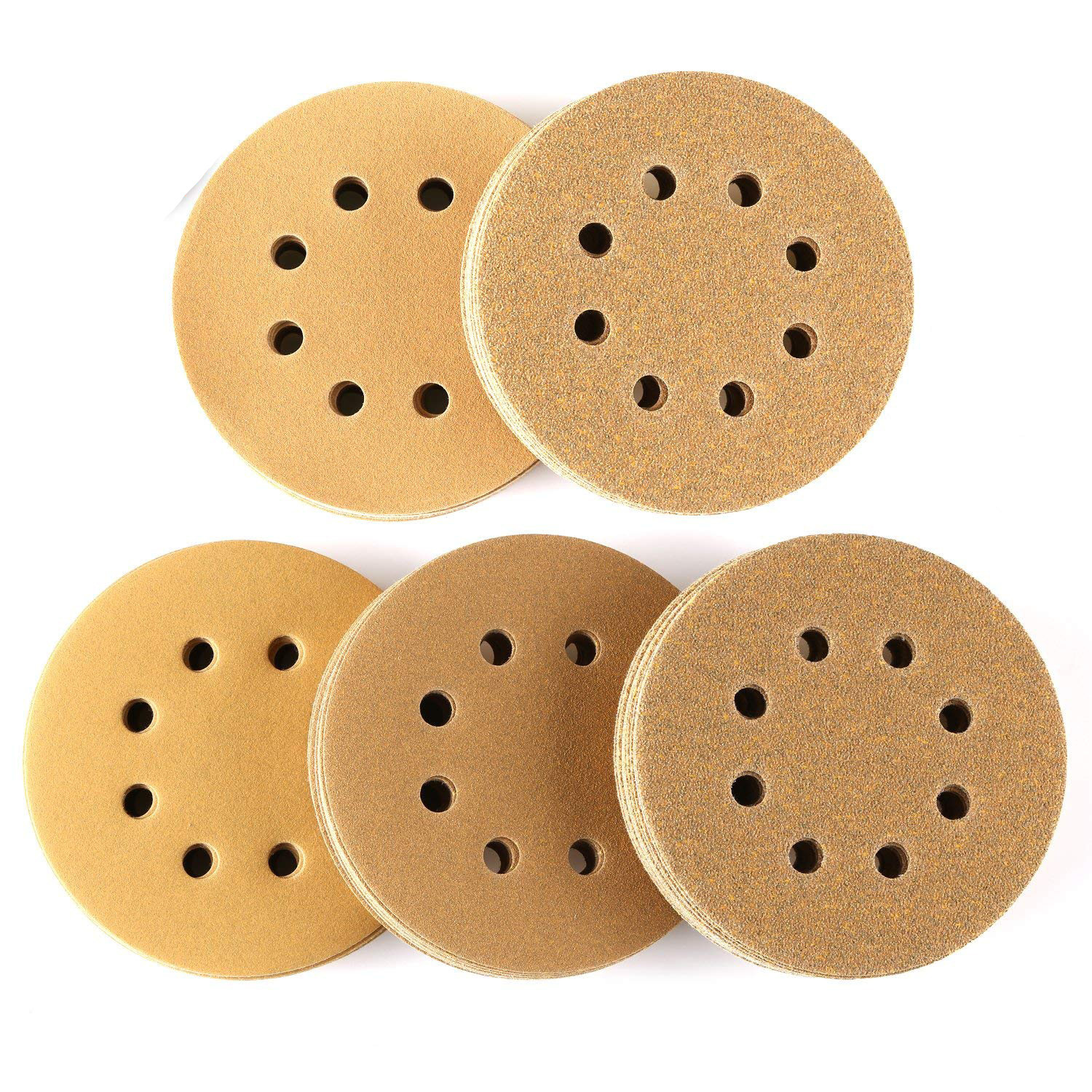 Wholesale 5-Inch 8-Hole Bei Rong Vacuuming Dry Grinding Disc Sandpaper Polishing Yellow Woven Nap Sandpaper Manufacturers Direct