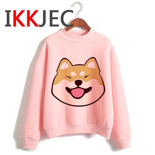 Shiba Inu Kawaii Dogs Funny Cartoon Grunge Aesthetic Hoodies Women Ladies Harajuku Cute Anime Sweatshirt Streetwear Hodoy Female 3