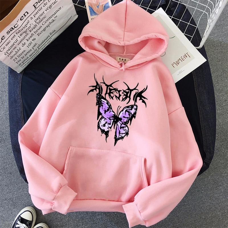 pink clothing black butterfly oversized Women's Hoodies Print Kawaii Sweatshirt Hoodies for Women top Hoody clothes Full Sleeve 9