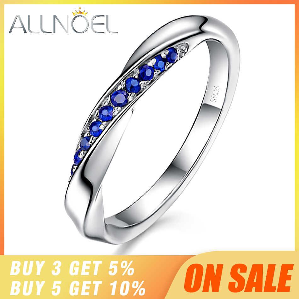 ALLNOEL ของแท้ 925 แหวนเงินสเตอร์ลิงสำหรับสตรี 1.3 มม.พลอยไพลินแหวนแต่งงานเครื่องประดับหมั้น Rose Gold 3 สี