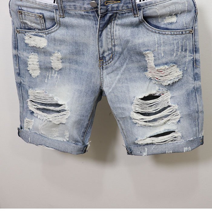 2019 New Products Men Knee-length Denim Shorts Fashion Slim Fit Summer Shorts Social With Holes Trend Four Korean-style Fella