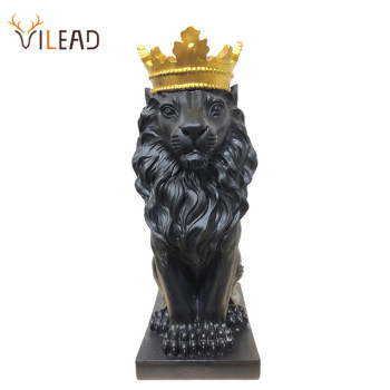 VILEAD Golden Crown Lion King Statue Nordic Handicraft Home Office Decoration Lion King Modle Animals Art Sculpture