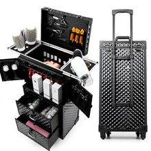מקצועי שיער מתגלגל מטען ארגז כלים סלון מספרה עגלת מזוודת יופי סלון גדול מגירת ארגז כלים