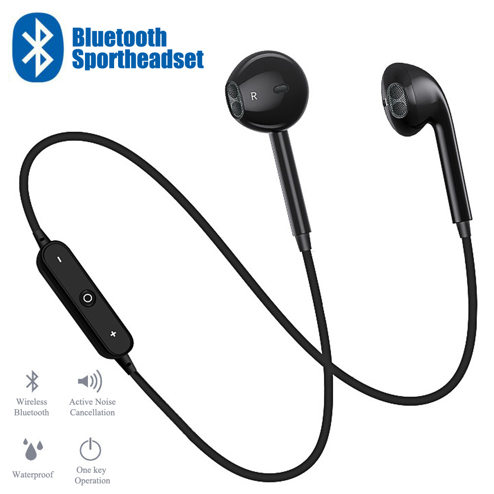 S6 Sport In-Ear Neckband S6 Wireless Headphone Bluetooth V4.1 Earphone With Mic Stereo Earbuds Headset For IPhone Xiaomi Huawei