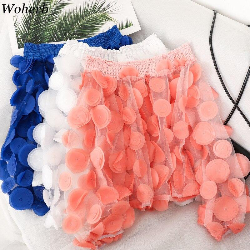 Woherb Fashion Elegant Slash Neck Puff Sleeve See Through Blouse Women Mesh Patchwork 3D Flower Shirts Korean New Tops 91351