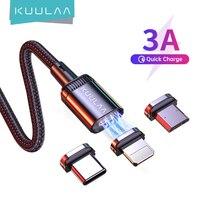 KUULAA carga magnética Cable de carga rápida USB Cable de tipo C imán Micro carga de datos USB de Cable de teléfono para iPhone Cable USB