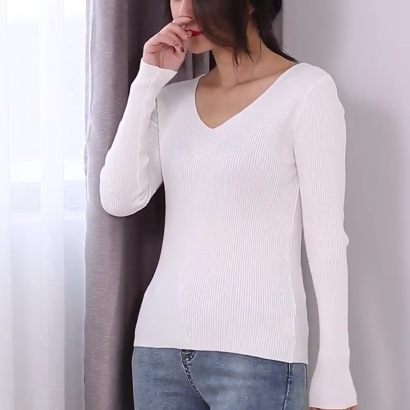Autumn V Neck Sweater Women Winter Knitted Slim Back V-neck Pullover Tops Casual Long Sleeve Knitting Stretch Sweater Pull Femme