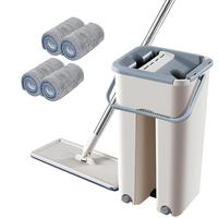 Free Hand Wash Flat Mop Telescopic Rod Microfiber Mop Set Home Kitchen Wooden Floor Cleaning Lazy Mop