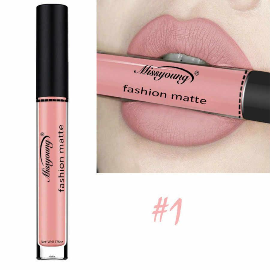 1 pçs 11.11 grande promoção brilho labial fosco impermeável veludo lábio vara 18 cores sexy pigmentos vermelho escuro maquiagem fosco gloss mu2