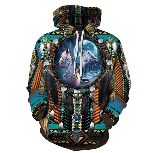 Indian Bohemian European and American Fashion Lovers  Hoodie Men's Loose Large Size 3D Printed Men's Hoodie Goes With Everything 3