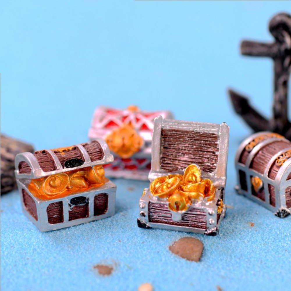 Mini Artificial Treasure Box Ornaments Antique Creative Decoration Landscape Pirate Gold Coins Home Ornaments Resin Crafts
