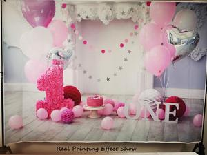 Image 5 - Laeacco Chic Wall Pillar Paper Flowers Umbrella 1st Birthday Scene Photography Backdrops Photo Backgrounds For Photo Studio Prop