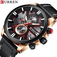 CURREN Men's Watch Fashion Sport Watch Creative Dial Waterproof Genuine Leather Strap Chronograph Auto Date Relojes Para Hombre все цены