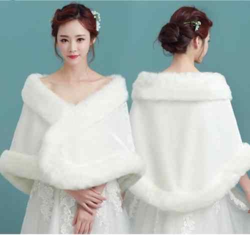 Bridal bridesmaid white fur shawl wedding dress coat married autumn and winter