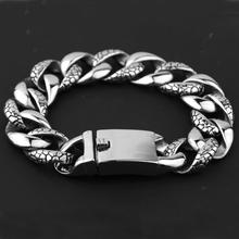 Mens Bracelet Silver Curb Link Chain Wristband 316L Stainless Steel For Male Jewelry Dropshipping Wholesale 18mm