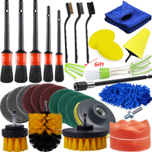 30Pcs Car Detailing Brush Auto Cleaning Brushes Power Scrubber Drill Brush For Air Vents Tire Wheel Rim Clean Car Cleaning Tools