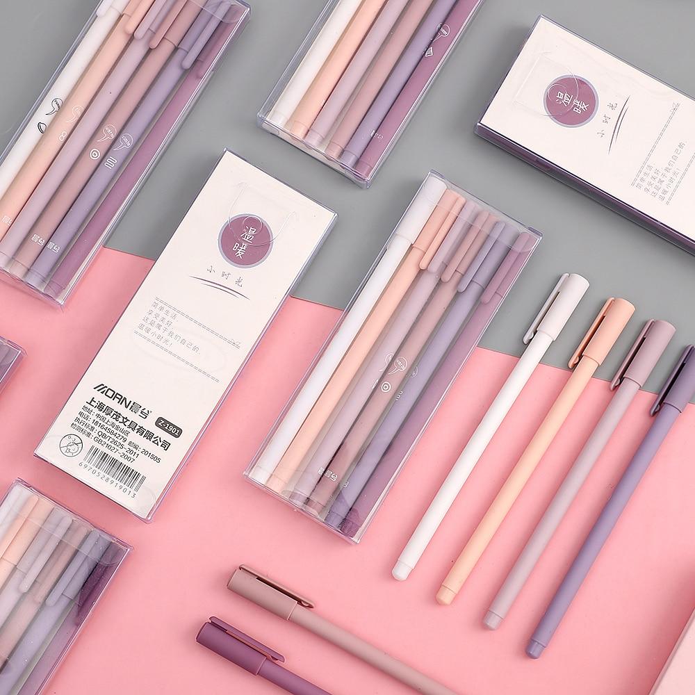 JIANWU 6pcs/set Creative Cute Morandi Simple Small Fresh Gel Pen Kawaii Quick Drying Cap Neutral Pen Bullet Journal Supplies
