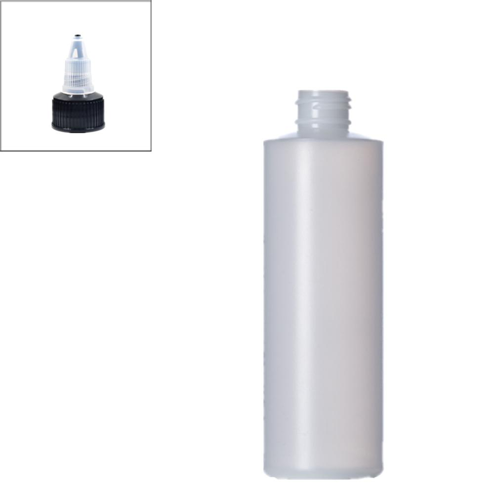 250ml Empty Plastic Soft  Bottle , HDPE Cylinder Round With Black Twist Top Caps, Pointed Mouth Top Cap