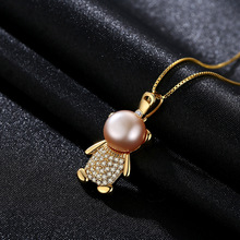 S925 Micro-zircon Zircon Xiaoxiong Steamed Bun Pearl Pendant Necklace Is Sold Directly By Delicate Manufacturer