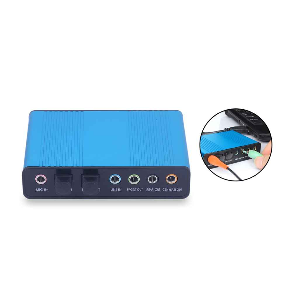 Professional External USB 5.1 Sound Card To 3.5mm Jack Stereo Mic Line In Spdif Audio Adapter For Mac PC Computer Laptop