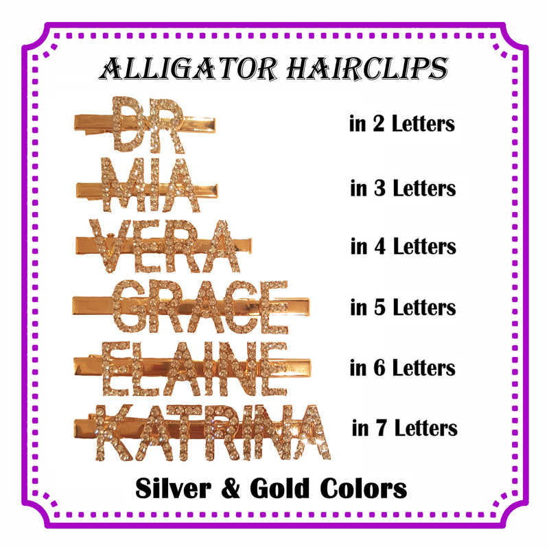 New Arrival Custom Name Alligator Hairclips Personalized Letters&Word Hair Pin Customized Alligator Clips in Silver&Gold Colors