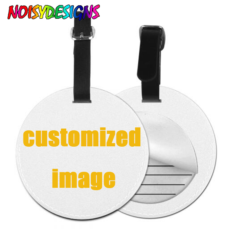 NOISYDESIGNS Custom Leather Round Suitcase Luggage Tag Label Bag 3D Print Handbag Travel Accessories Name ID Address Tags