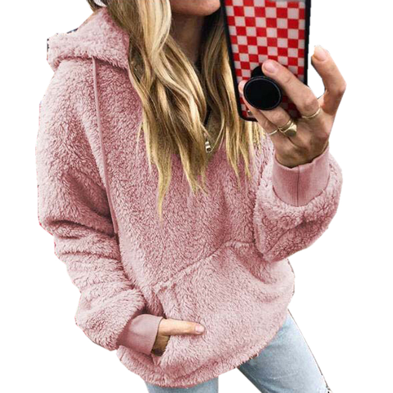 Fleece Thick Hooded Sweatshirt Top 2019 Autumn Winter New Women Clothes Solid Casual Loose Pockets Pink Hoodies Plus Size S-5XL