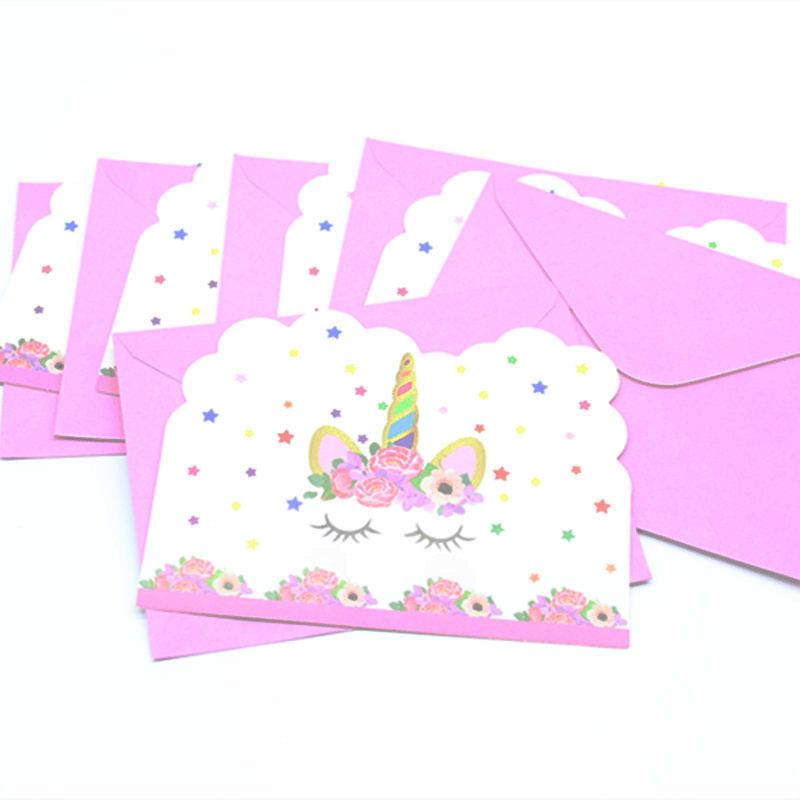 Пригласительные вечеринки в виде единорога, 6 люверсов, украшения для детской вечеринки на день рождения, тематические приглашения в виде е...