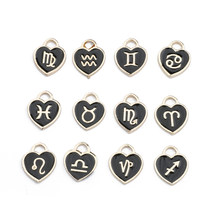 Novo 12*14mm animal 12 constelações zodiac encantos esmalte pingente artesanal para diy pulseira jóias fazendo atacado
