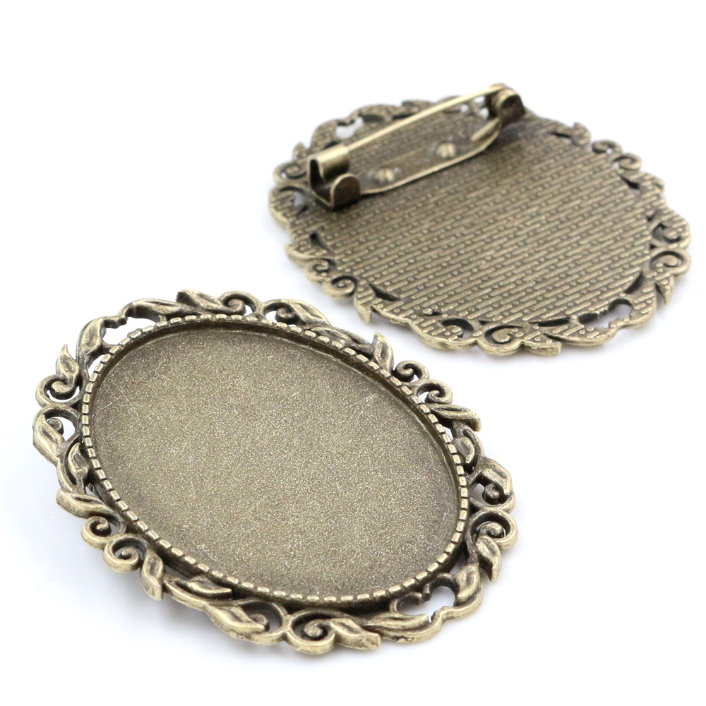 New Fashion  5pcs 30x40mm Inner Size Antique Bronze Pin Brooch Pierced Style Base Setting Pendant (B1-17)