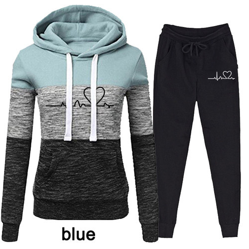 Women Tracksuit Pullovers Hoodies and Black Pants Autumn Winter Suit Female Solid Color Casual Full Length Trousers Outfits 2021 16
