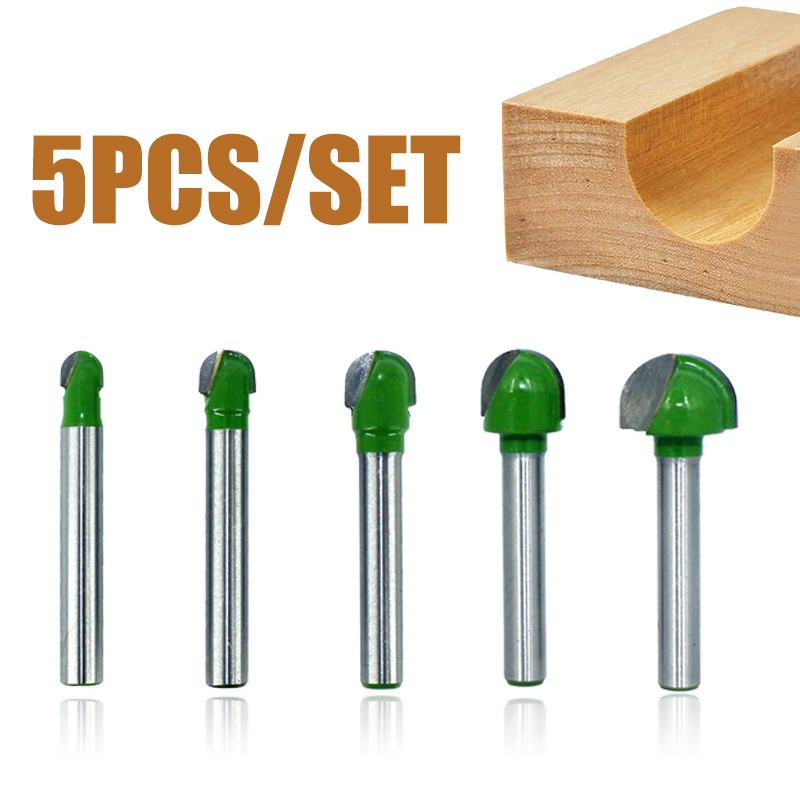 5pcs 6mm Shank Ball Tip Router Bits Set 6-18mm Carbide Milling Cutter Hand Woodworking Drilling Groove Tool