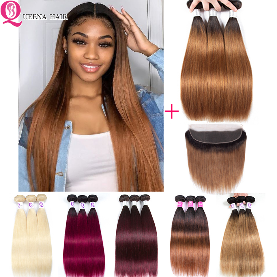 Blonde Bundles With Frontal Brazilian Straight Hair Bundles With Frontal Closure 99j Ombre Human Hair Bundles With Frontal Remy