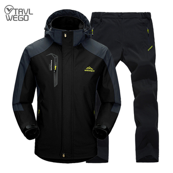 TRVLWEGO Man Trekking Hiking Fishing Outdoor Coat&Pants Set Black Sports Single Jackets & Quick-drying Camping Trouser Suit