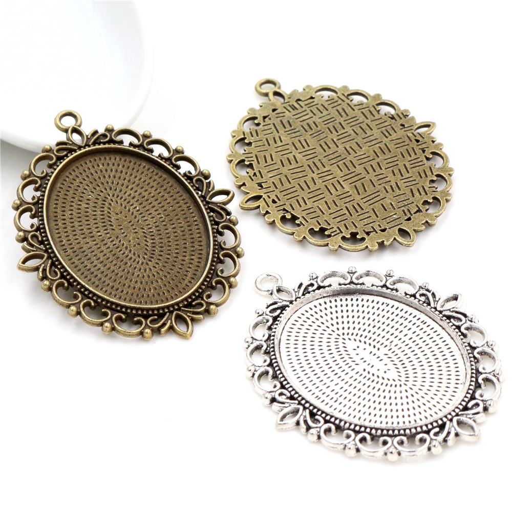 New Fashion 5pcs 30x40mm Inner Size Bronze Silver Plated Pierce Lace Flower Style Cabochon Tray Base Setting Charms Pendant