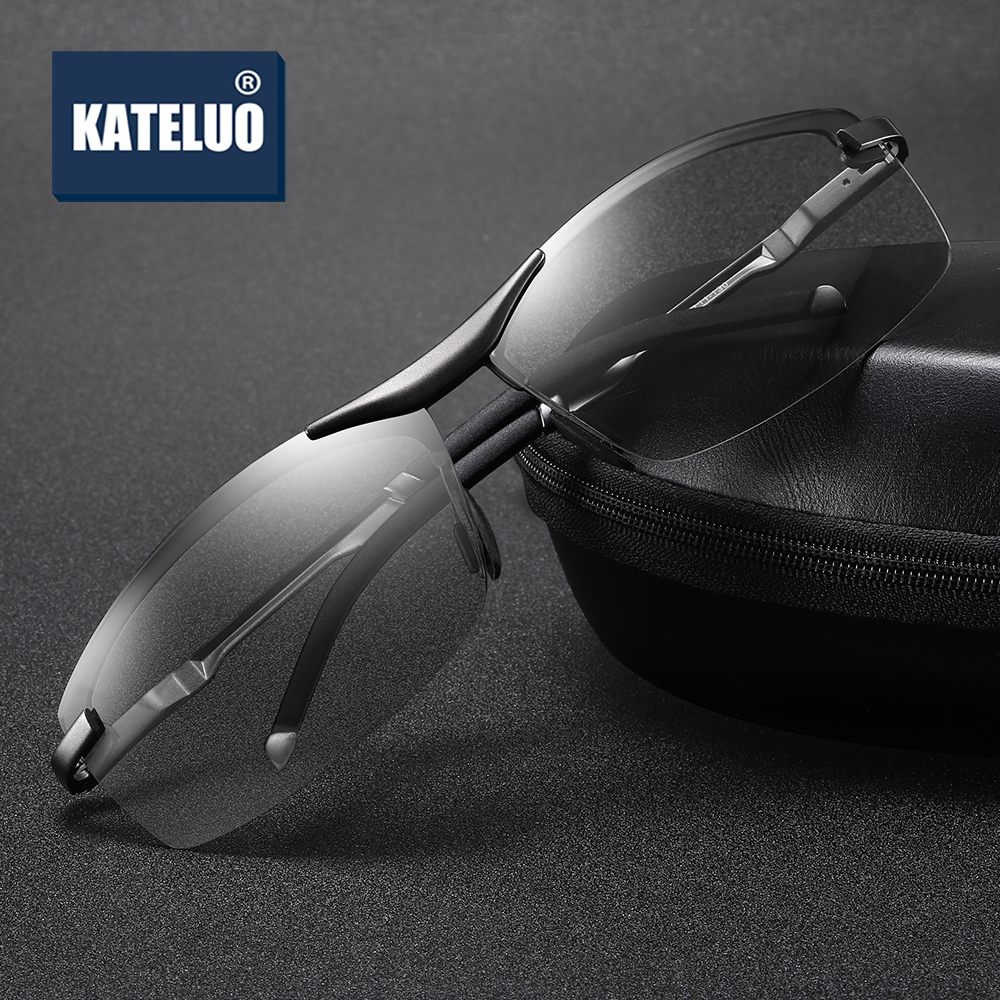 KATELUO Brand Mens Day Night Vision Dual Sunglasses Photochromic Lens HD Polarized UV400 Driving Glasses Goggles Anti Glare 557