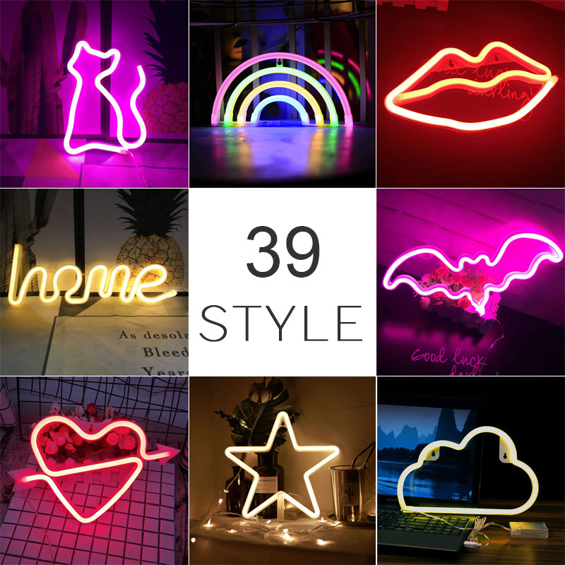 Wholesale 39 Style LED Night Light USB Battery Powered Neon Night Lamp Colorful Rainbow Flamingo Cat Lips Heart Bedroom Decor
