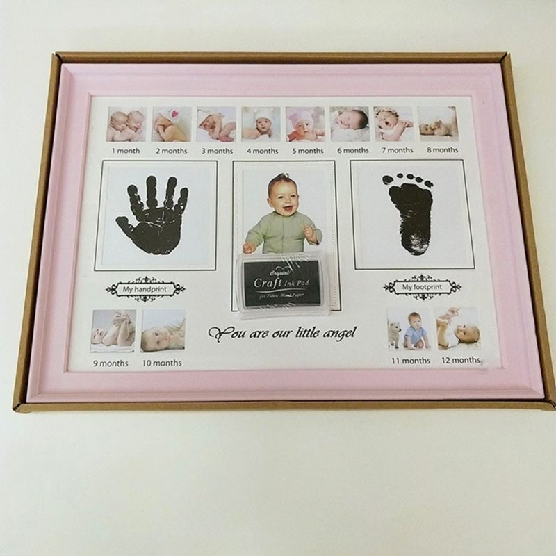 Baby Handprint Footprint Photo Frame With Stamp Ink Newborn Decor Gift Kids Imprint Hand Inkpad Souvenirs 23GD