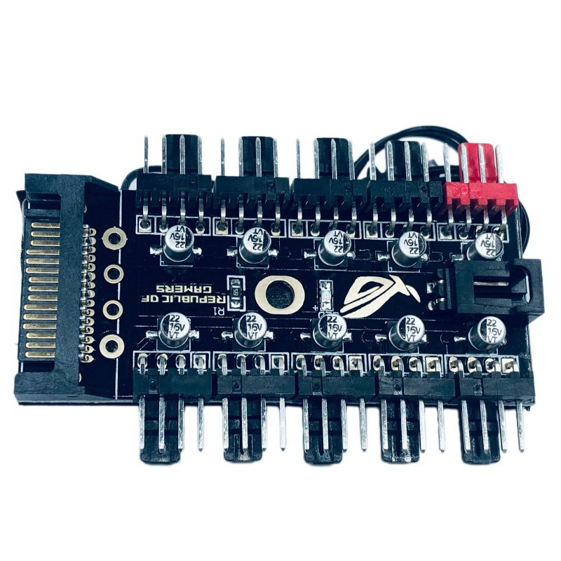 Intelligent Temperature Control Pwm 4Pin 4 Pin Fan Hub 10 Way Controller with Big 4P Port and SATA Port Power Supply